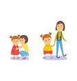 mother and daughter walking and hugging vector image vector image