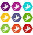 pipe tap icons set 9 vector image vector image