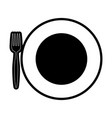 plate with fork vector image vector image