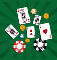 poker casino cards chip money green background vector image