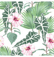 seamless pattern with tropical leaves and paradise vector image vector image