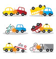 set accident car and smash up isolated aut vector image