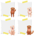 set dog on note template vector image