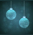 set of 2 silver sparkled christmas balls vector image