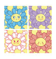 set of cute flowers vector image