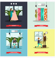 set of fashion atelier square flat posters vector image vector image