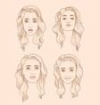 set of four european woman portraits vector image vector image