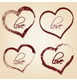 set of red retro love heart grunge symbols eps10 vector image