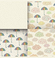 set of seamless pattern with cute sleeping clouds vector image vector image