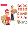 set of smiling delivery man in red uniform vector image