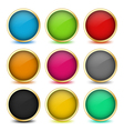set web buttons with golden frames vector image
