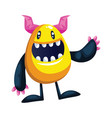 smiling yellow monster waving white background vector image