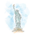 statue liberty hand draw on watercolor vector image vector image