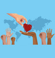 stop racism international day poster with hand vector image vector image