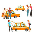 taxi service set clients waving to taxi man vector image vector image