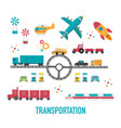 transportation iconscity vehicles in flat design vector image