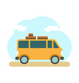 Traveler truck on the road Outdoor journey camping vector image