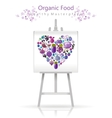 Vegetarian heart on canvas and easel violet and vector image vector image