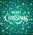 Merry Christmas lettering on green background vector image
