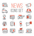 journalism media hot tv news outline black vector image