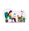 a young girl using laptop in her room vector image vector image
