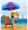 A young woman eating an icecream at the beach vector image vector image