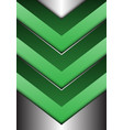 abstract green arrow 3d on silver direction vector image vector image