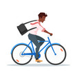 afro american businessman riding bike vector image vector image