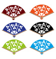 asian hand fan various colors set eps10 vector image