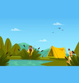 banner with hunter men characters and tent flat vector image