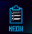 blue glowing neon line clipboard with checklist vector image vector image