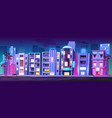 buildings hotels in miami at night summer time vector image vector image
