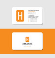 business card letter h yellow color stationery vector image vector image