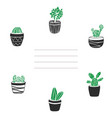 card and cover with cute hand drawn cacti vector image vector image