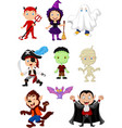 cartoon children with halloween costume vector image vector image