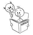 cartoon frightened man reading scary horror vector image vector image