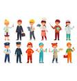 cartoon kids in professional uniform doctor vector image vector image