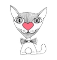 cat love sketch vector image vector image