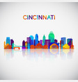 cincinnati skyline silhouette in colorful vector image vector image
