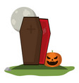 coffin and pumpkin under full moon vector image