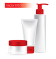 composition packaging containers red color vector image