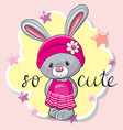 cute rabbit girl on a pink background vector image vector image