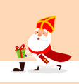cute saint nicholas fill shoes with gifts vector image vector image