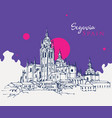 drawing sketch cathedral segovia spain vector image