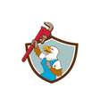 Eagle Plumber Raising Up Pipe Wrench Crest Cartoon vector image vector image