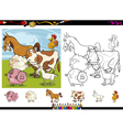 farm animals cartoon coloring page set vector image vector image