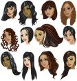 female faces vector image vector image