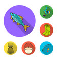 fishing and rest flat icons in set collection for vector image
