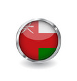 flag of oman button with metal frame and shadow vector image