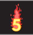 flaming number five vector image vector image